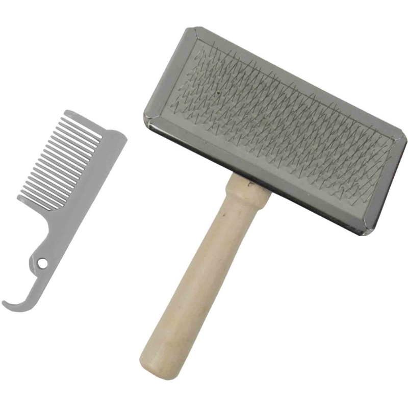 Dog/Cat Slicker Brush With Brush Cleaner