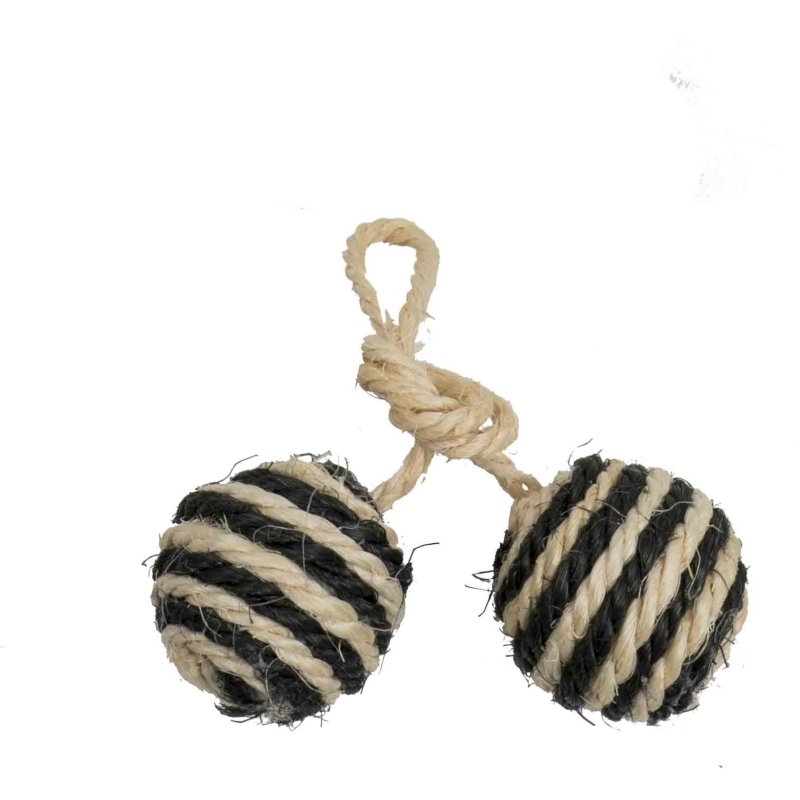 2 Balls On A Rope Sisal With Bell