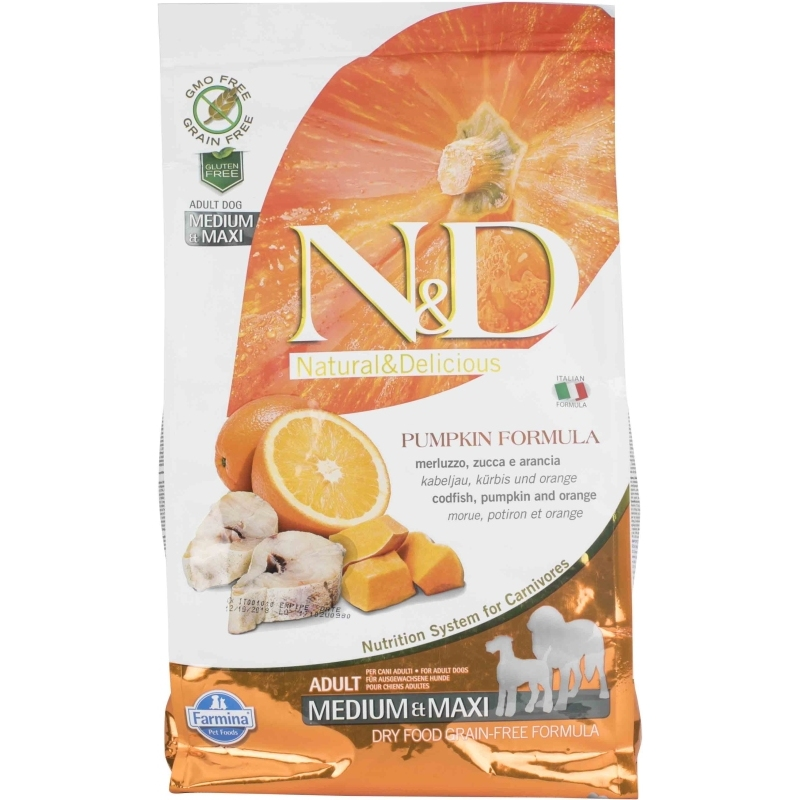 N&D Grain Free Pumpkin Codfish & Orange Adult Medium & Maxi
