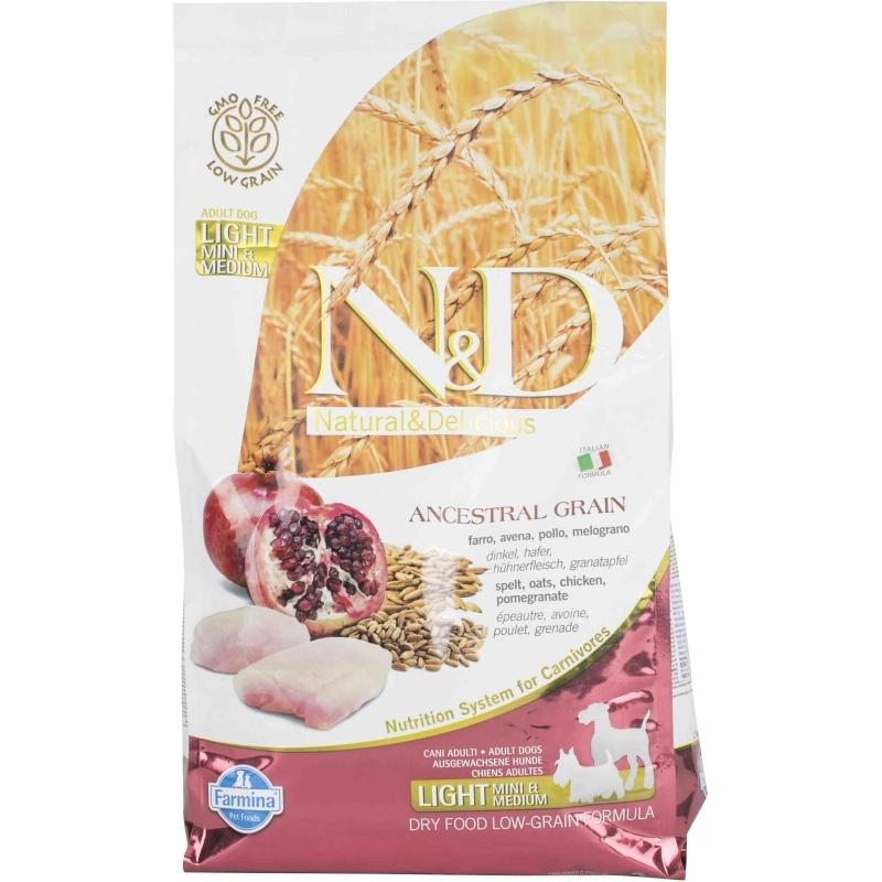 N& D Low Grain Chicken & Pomegranade Light Adult Mini/medium