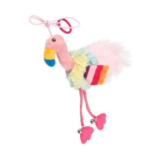 GiGwi Finger Teaser' Flamingo with crinkle paper, catnip inside and bell