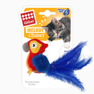 GiGwi Red Parrot 'Melody Chaser' w/motion activated sound chip