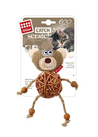 GiGwi Eco Line Bear and Dog 'Catch & Scratch' with catnip Rattan/Wood/Plush