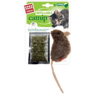 GiGwi Mouse 'Refillable Catnip' with 3 catnip teabags
